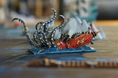 The Black Kraken (chaos dwarf submarine), painted red as you can see