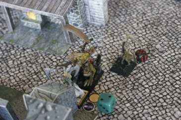 His zombie escort came to watch, unable to reach Kayl in time to help.